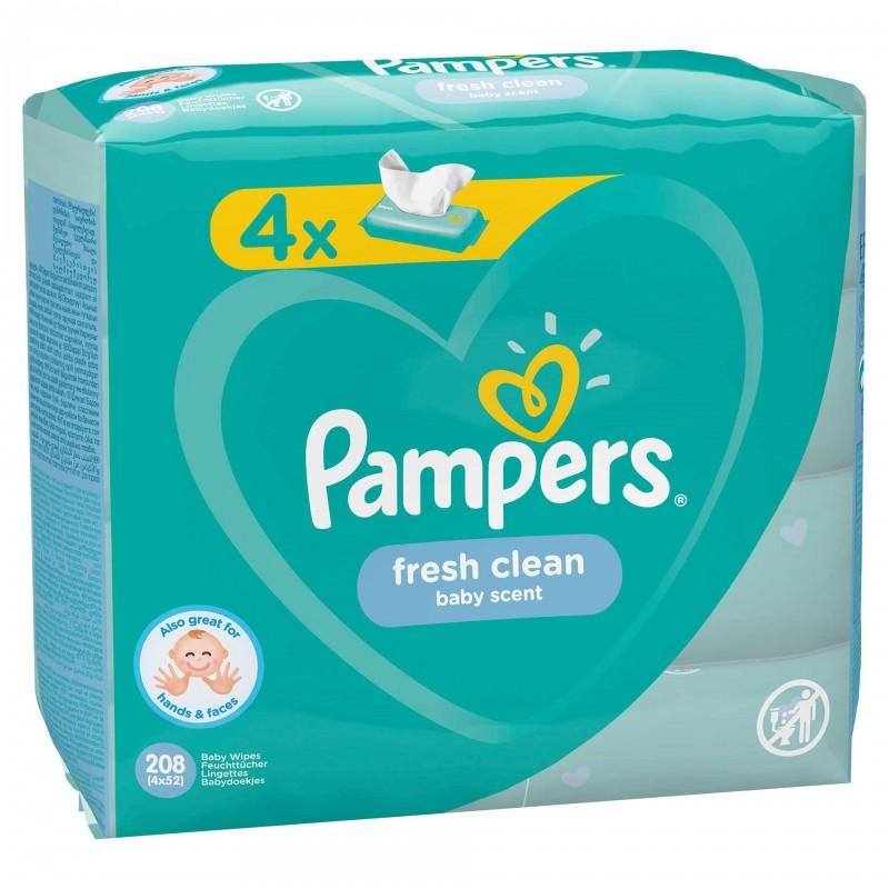 Servetele umede Pampers Fresh Clean Quattro, 4 x 52 buc/pachet 2021 shopu.ro