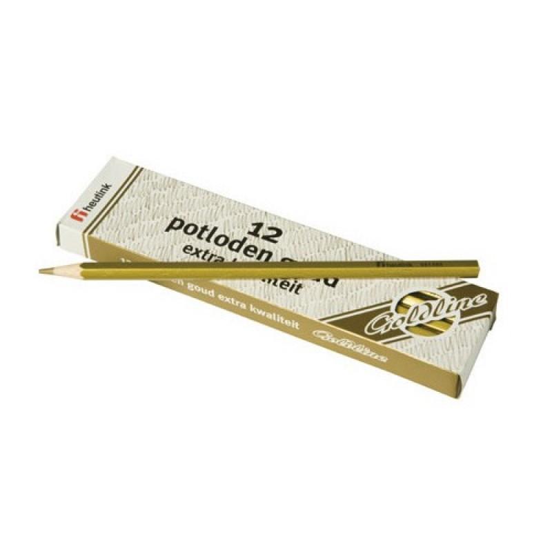Set 12 creioane hexagonale Goldline Heutink, auriu metalic 2021 shopu.ro