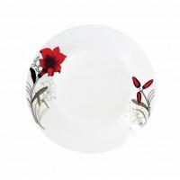 Set 12 farfurii desert Vanora, 19 cm, portelan, model flori, Alb/Rosu