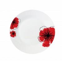 Set farfurii desert Vanora, 19 cm, 12 piese, portelan, model flori, Alb/Rosu