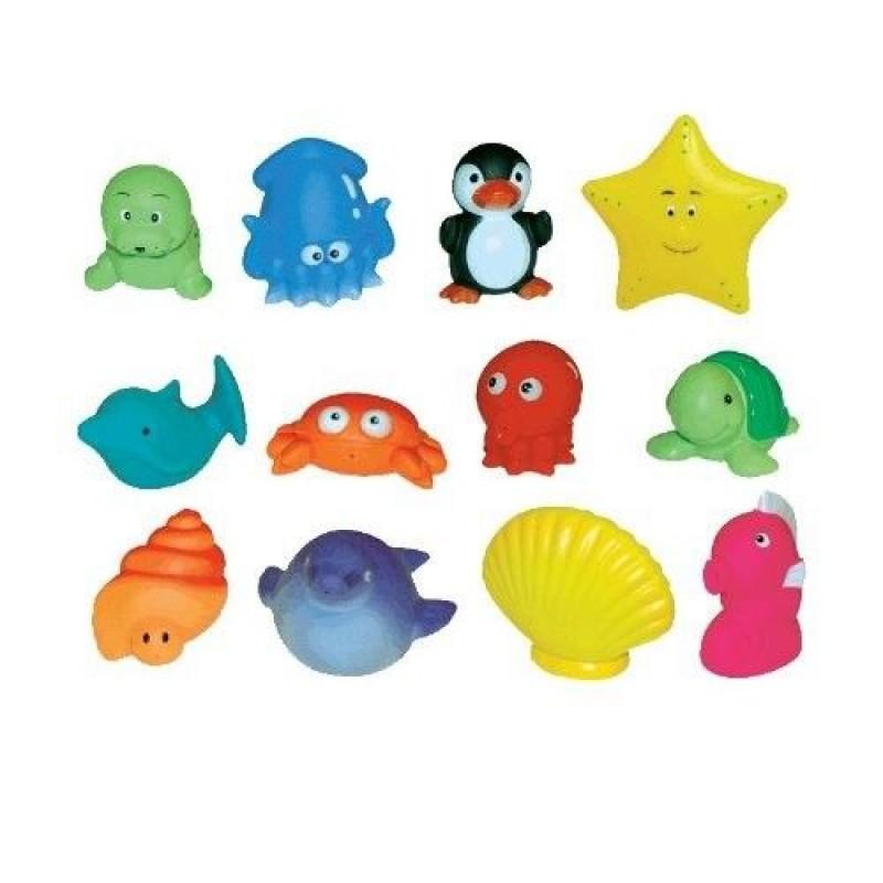 Set 12 jucarii de baie Ludi, 7 cm, 10 luni+, model animale marine, Multicolor 2021 shopu.ro