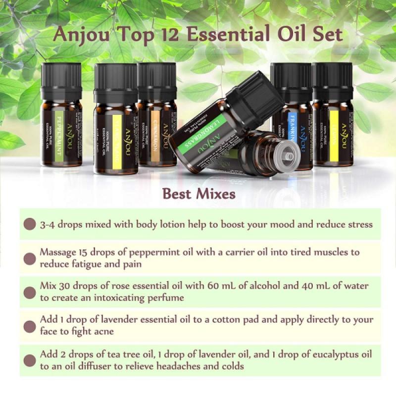 Set 12 uleiuri esentiale Anjou, 12 x 5 ml, puritate 100%