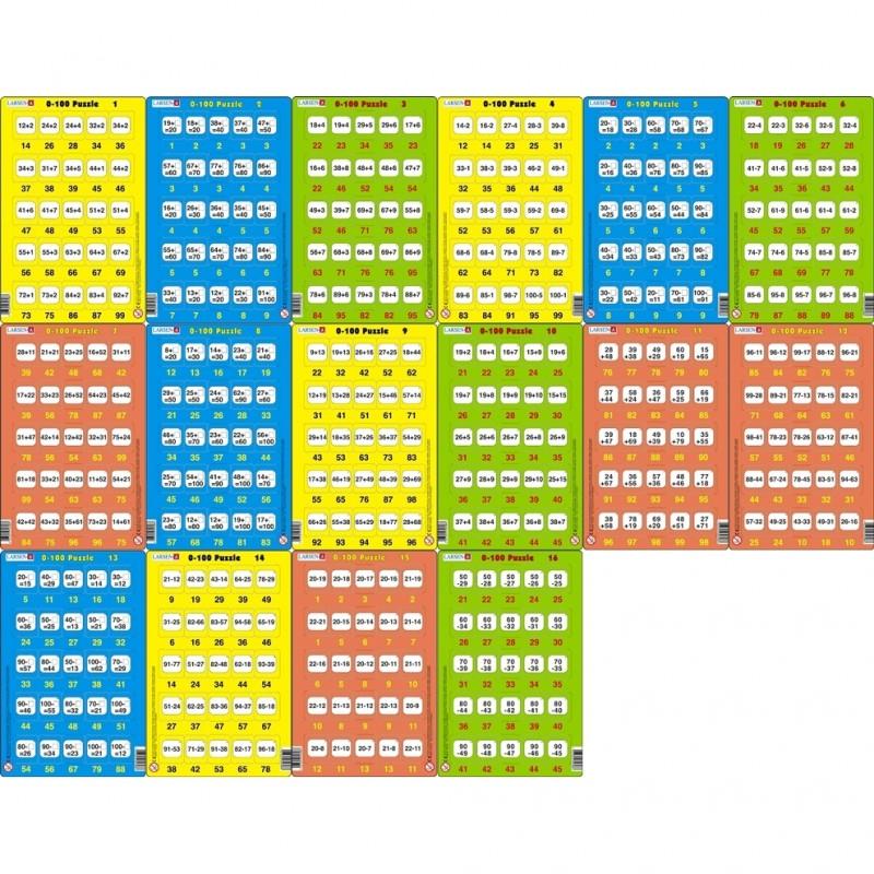 Set 16 Puzzle-uri 0-100 Larsen, 25 Piese