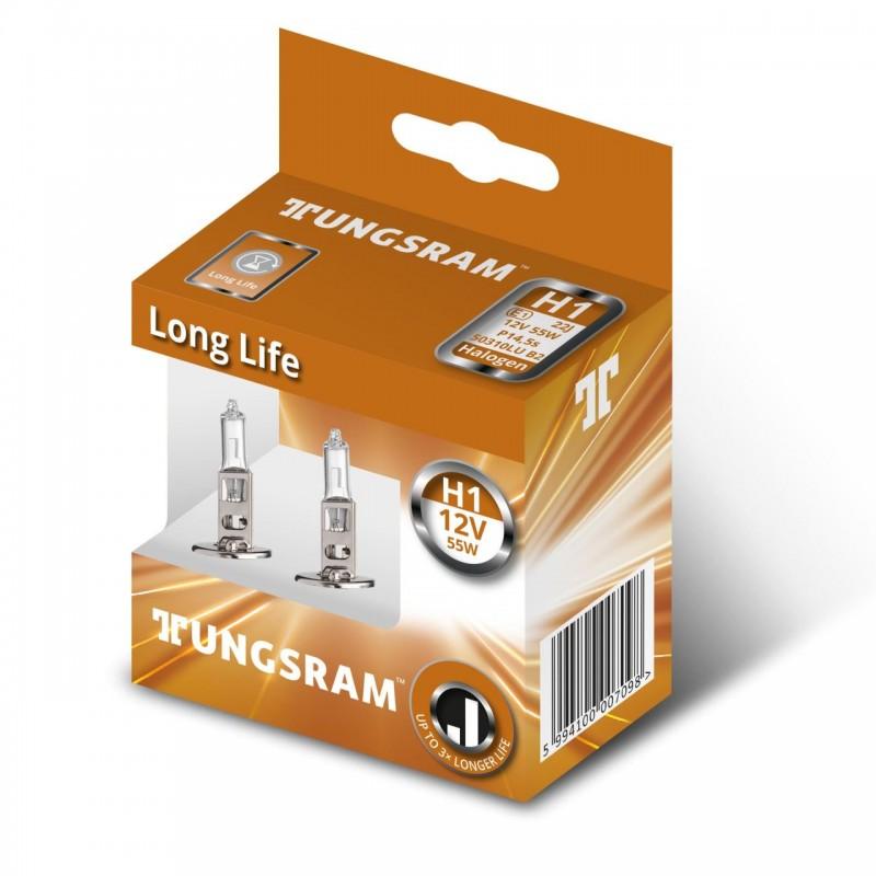 Set 2 becuri auto cu halogen H1 Tungsram Log Life, putere 55 W P14.5s 2021 shopu.ro