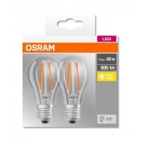 Set Becuri LED Osram, 7 W, 2700 K, 806 Lumeni, 220 V, E27, 10000 ore, A++, 2 bucati
