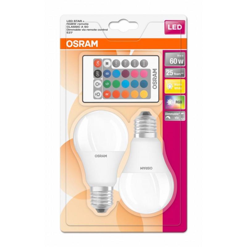 Set Becuri LED Osram, 9 W, 806 Lumeni, E27, 25000 ore, lumina RGB, A++, 2 bucati shopu.ro
