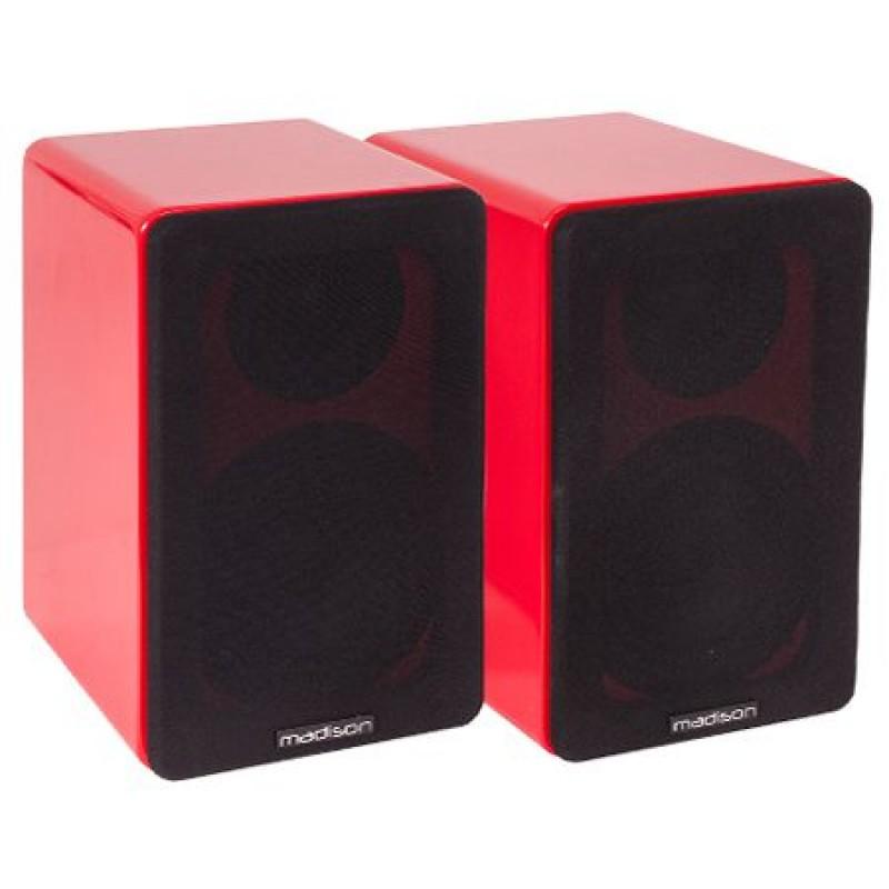 Set 2 boxe acustice, 40 W RMS, woofer 10 cm, design modern, Rosu 2021 shopu.ro