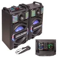 Set 2 Boxe Karaoke, 350 W, 1 activ + 1 pasiv, 25 cm, aux, bluetooth, LED RGB, usb, micro sd, Negru