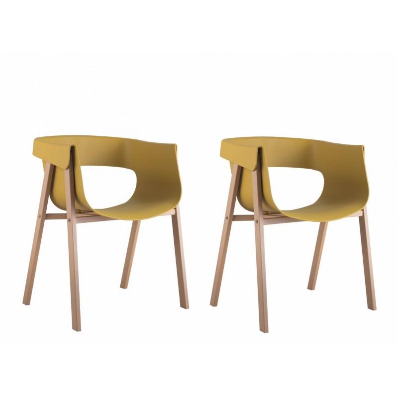 Set 2 scaune Elf Heinner, 79 x 53 x 59 cm, plastic, picioare lemn de fag, Galben shopu.ro