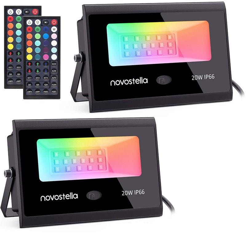 Set 2 proiectoare de podea Novostela, 20 W, LED RGB, timer, 6 moduri iluminare, telecomanda 2021 shopu.ro