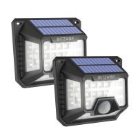 Set 2 lampi solare BlitzWolf, 32 x LED, 1200 mAh, 6500 K, senzor de miscare
