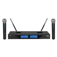 Set 2 microfoane BST, Wireles, 8 canale, reglabile, afisaj LCD