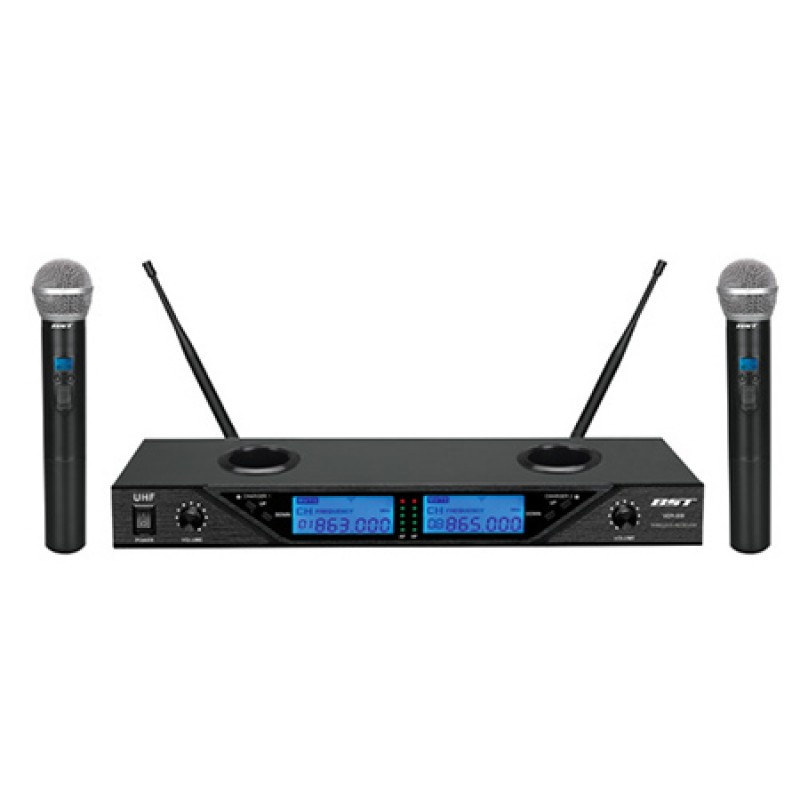 Set 2 microfoane BST, Wireles, 8 canale, reglabile, afisaj LCD 2021 shopu.ro