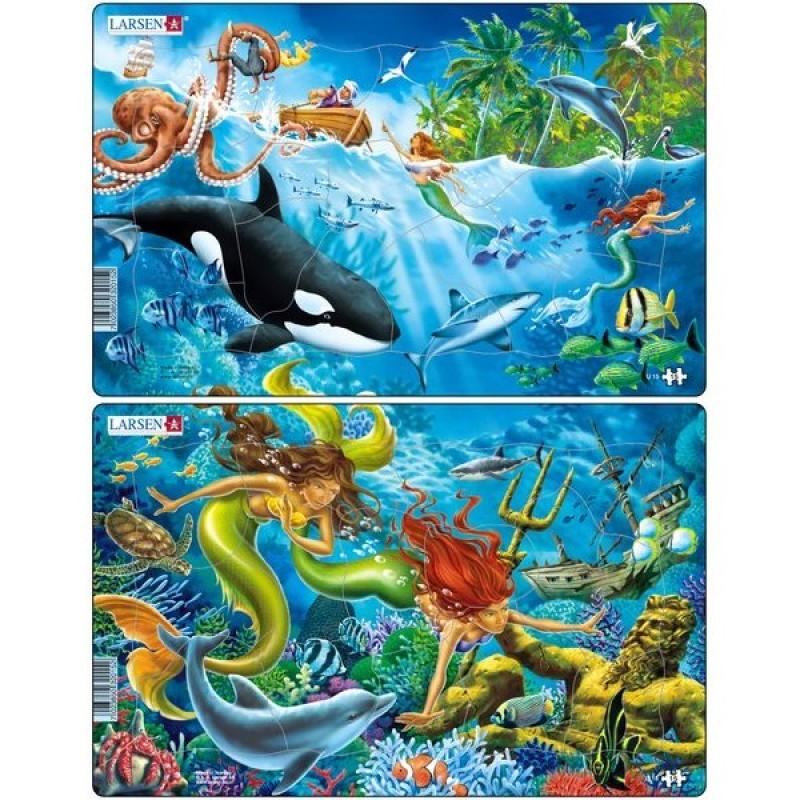 Set 2 Puzzle-uri Sirene Larsen, 15 piese 2021 shopu.ro