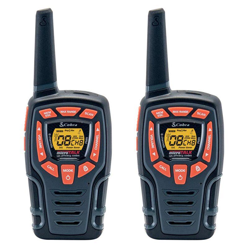 Set 2 statii Walkie-Talkie AM845 Cobra, 10 km, 8 canale, display LCD