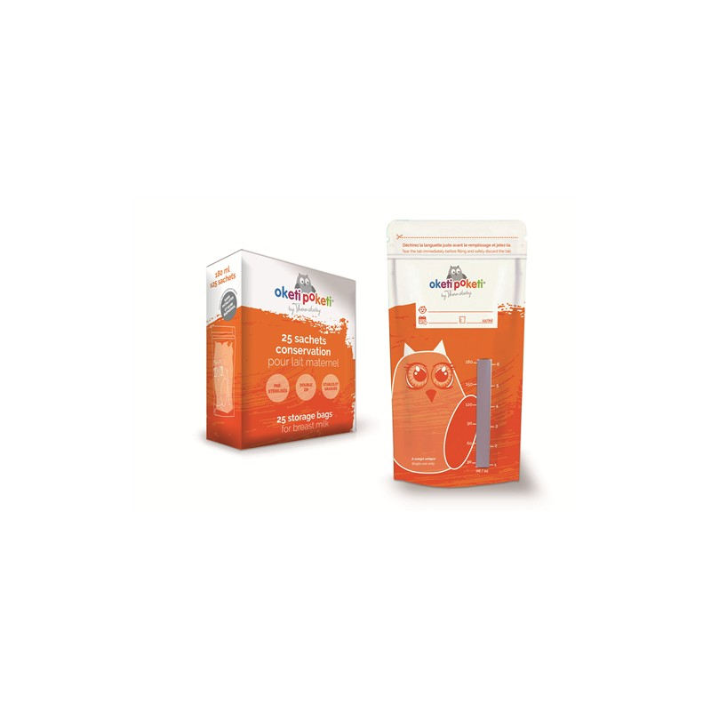Set 25 pungi stocare lapte matern Oketi Poketi Thermobaby, 180 ml, polietilena, fermoar dublu 2021 shopu.ro