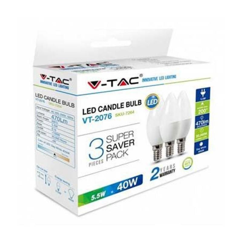 Set 3 becuri LED, soclu E14, 470 lm, 5.5 W, 6400 K, alb rece shopu.ro