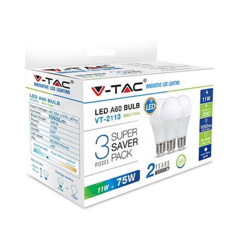 Set 3 becuri LED, 470 lm, soclu E27, 5.5 W, 4000 K, alb neutru 2021 shopu.ro