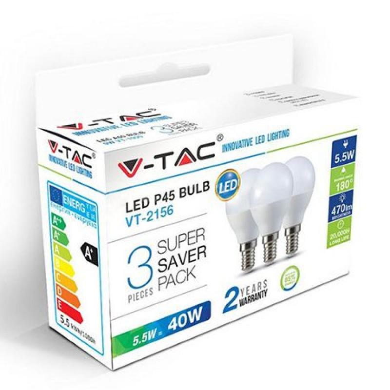Set 3 becuri LED, 470 lm, soclu E14, 6 W, 6400 K, alb rece 2021 shopu.ro