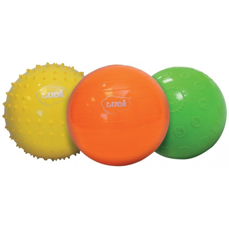 Set 3 mingii senzoriale Ludi, PVC, 13 cm, 0 luni+, Multicolor 2021 shopu.ro