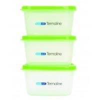 Set 3 recipiente hrana copii Termaline BebeduE, 3 x 400 ml, Verde/Transparent