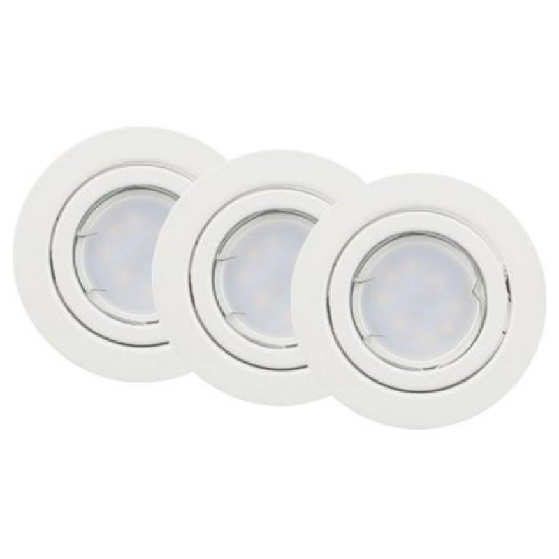 Set 3 spoturi GU10, 5 W, 6400 K, 400 lm, culoare alb rece shopu.ro