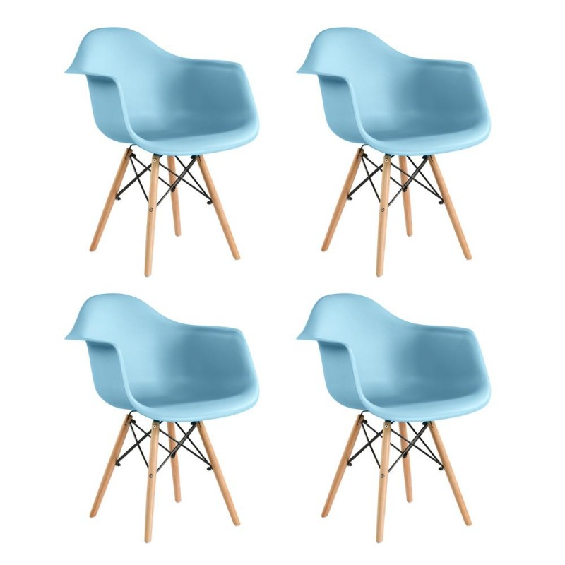 Set 4 scaune Cosy Heinner, 81 x 61 x 62 cm, picioare lemn/metal, sezut/spatar plastic, maxim 200 kg, Albastru shopu.ro