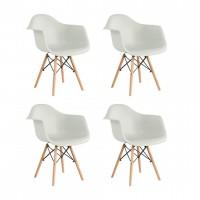 Set 4 scaune Cosy Heinner, 81 x 61 x 62 cm, picioare lemn/metal, sezut/spatar plastic, maxim 200 kg, Alb