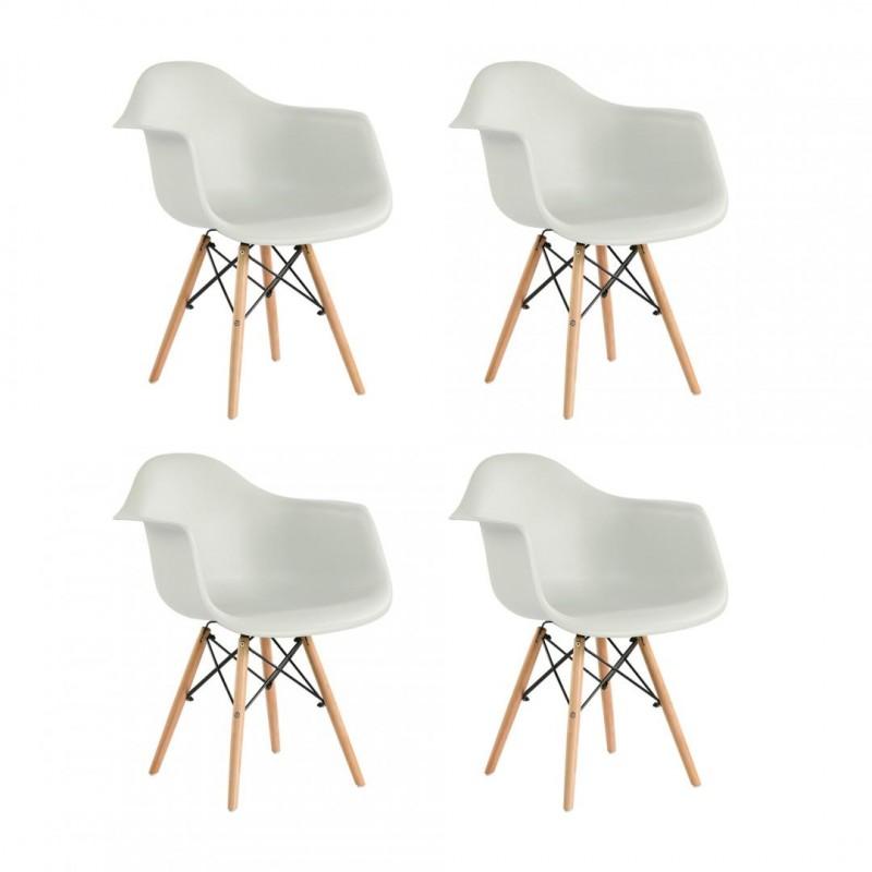 Set 4 scaune Cosy Heinner, 81 x 61 x 62 cm, picioare lemn/metal, sezut/spatar plastic, maxim 200 kg, Alb shopu.ro