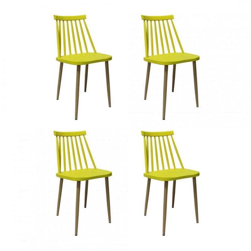 Set 4 scaune Moon Heinner, 78 x 46 x 43 cm, plastic, maxim 200 kg, Galben shopu.ro