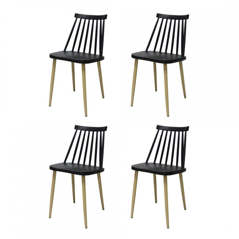 Set 4 scaune Moon Heinner, 78 x 46 x 43 cm, plastic, maxim 200 kg, Negru shopu.ro