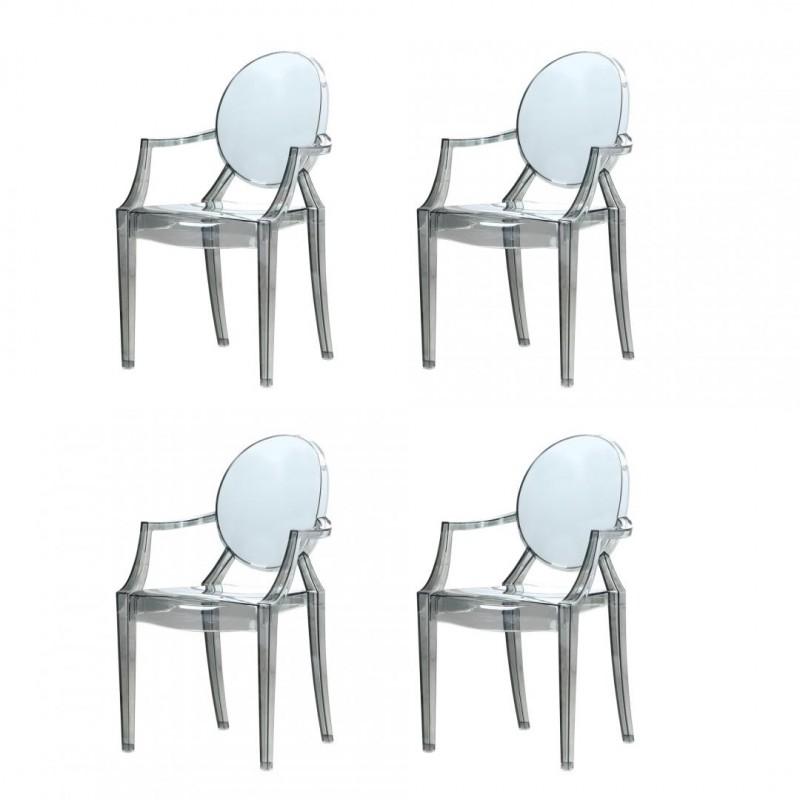 Set 4 scaune Princess Heinner, 92.5 x 57 x 54 cm, policarbonat, maxim 200 kg, Transparent shopu.ro