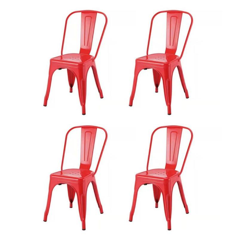 Set 4 scaune Retro Heinner, 85 x 45 x 44.5 cm, metal, maxim 200 kg, Rosu shopu.ro