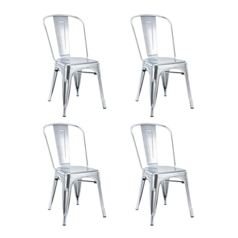 Set 4 scaune Retro Heinner, 85 x 45 x 44.5 cm, metal, maxim 200 kg, Argintiu shopu.ro