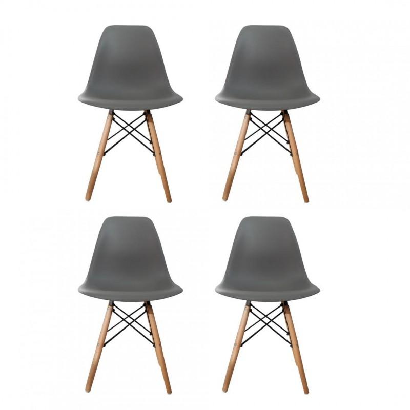 Set 4 scaune Truly Heinner, 82 x 58 x 57 cm, lemn de fag/otel, sezut plastic, maxim 200 kg, Gri shopu.ro