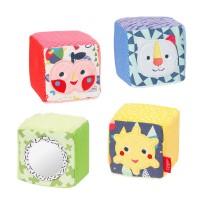 Set 4 cuburi Fehn, velur, 7 x 7 x 7 cm , 0 luni+, Multicolor