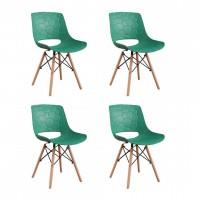 Set 4 scaune Fizzy Heinner, 79 x 55 x 45 cm, sezut/spatar plastic, cadru lemn/otel, maxim 200 kg, Verde