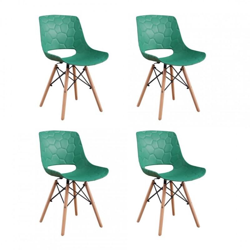 Set 4 scaune Fizzy Heinner, 79 x 55 x 45 cm, sezut/spatar plastic, cadru lemn/otel, maxim 200 kg, Verde shopu.ro