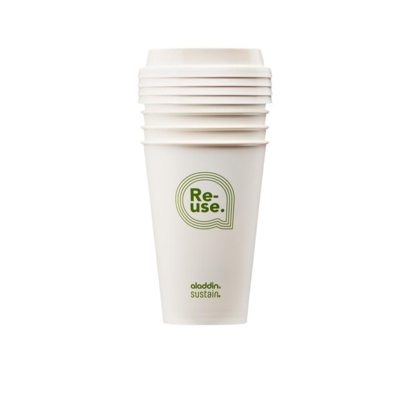 Set pahare Re-Use Aladdin, 350 ml, capac reutilizabil, 4 bucati 2021 shopu.ro
