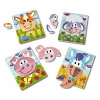 Set 4 puzzle Animale domestice Melissa and Doug, lemn, 2 ani+