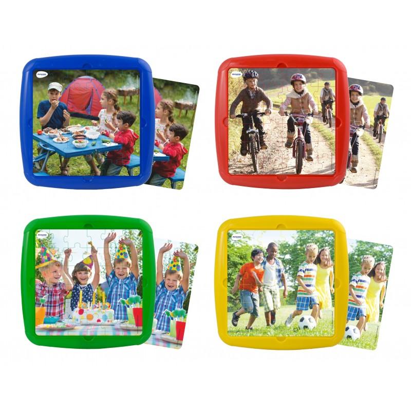 Set 4 puzzle Ma distrez cu prietenii mei Miniland, 21 x 21 cm
