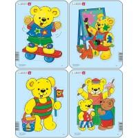 Set 4 Puzzle-uri Ursuleti, Larsen, 5 piese, Multicolor