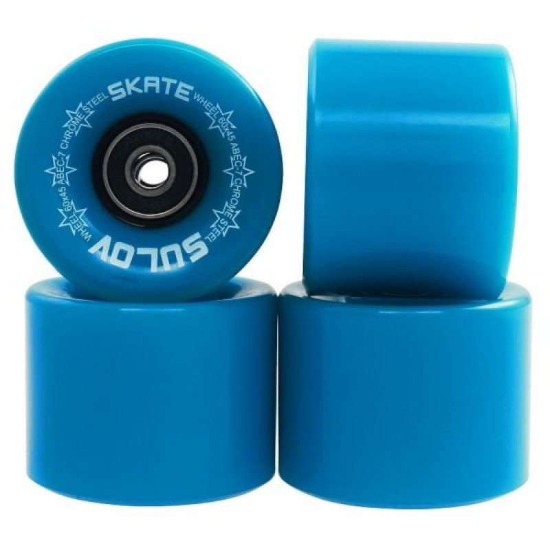 Set 4 roti pentru skateboard DHS, 60 x 45 mm, poliuretan, rulmenti ABEC 7, Albastru 2021 shopu.ro