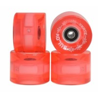 Set 4 roti pentru skateboard DHS, 60 x 45 mm, poliuretan, rulmenti ABEC 7, Roz transparent