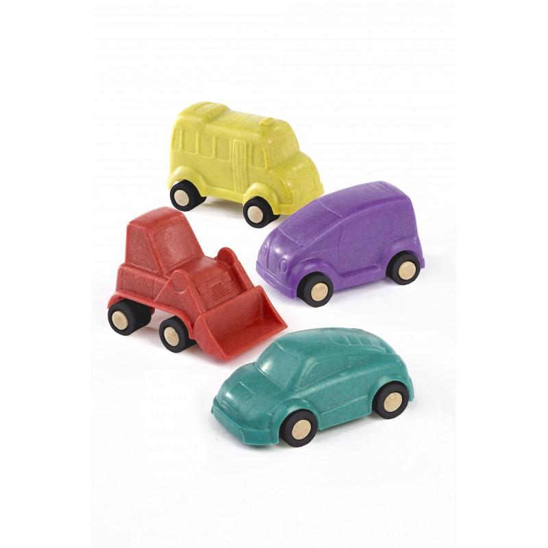 Set 4 vehicule Minimobile Miniland, 9 cm, material ecologic, 18 luni+, Multicolor 2021 shopu.ro
