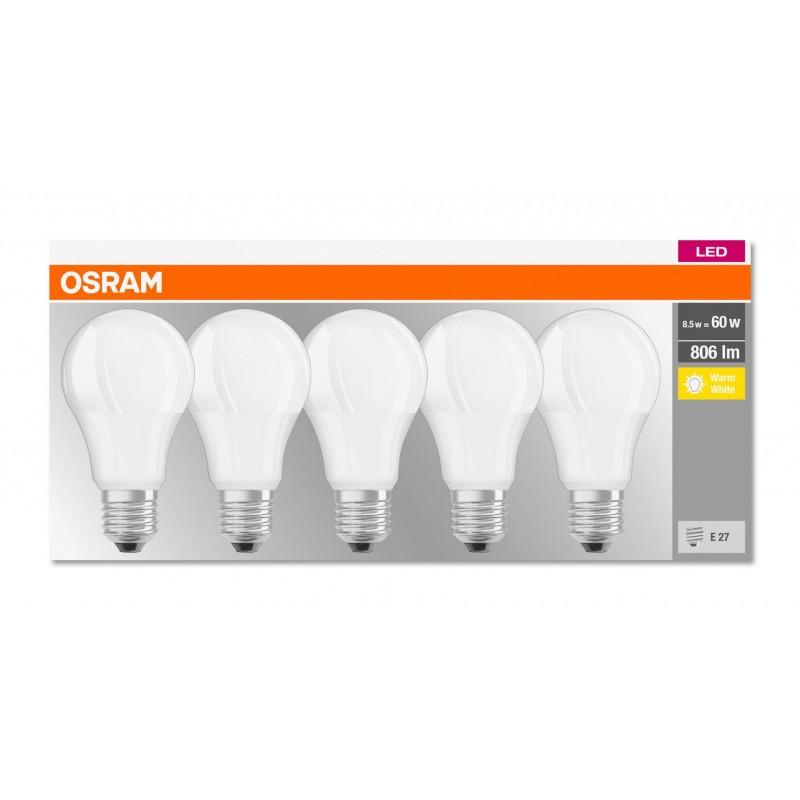 Set Becuri LED Osram, 9 W, 2700 K, 806 Lumeni, E27, 10000 ore, A++, 5 bucati shopu.ro