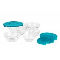 Set boluri Vanora, 140-910 ml, sticla, capac plastic, 5 piese, Albastru