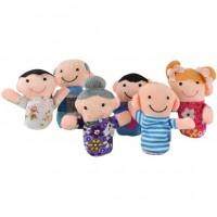 Set marionete pentru degete Familia Iso Trade, 8 cm, 6 bucati, 3 ani+, Multicolor