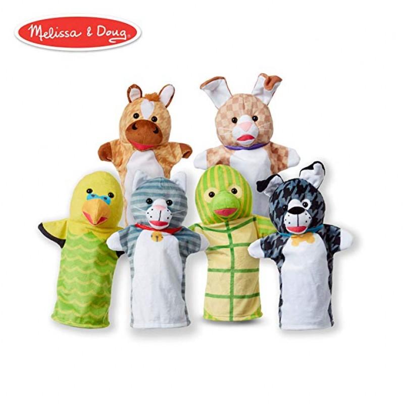 Set 6 papusi de mana animale de companie Melissa & Doug, material lavabil