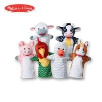 Set 6 papusi de mana Animale de la ferma Melissa & Doug, material lavabil